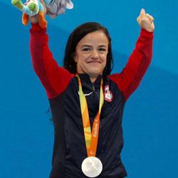 Sophia Herzog celebrating winning a Paralympic medal