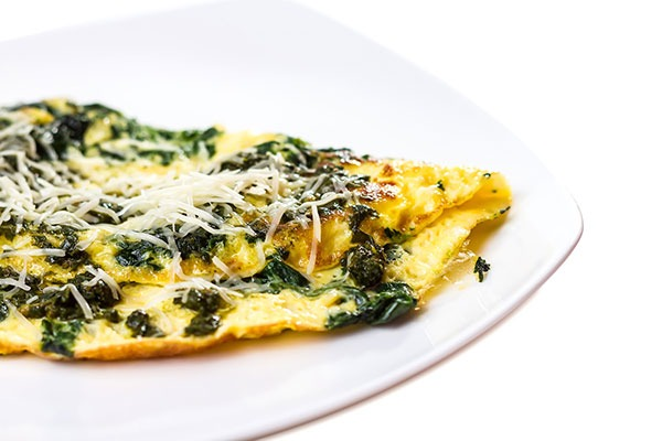 Spinach and cheese omelette.