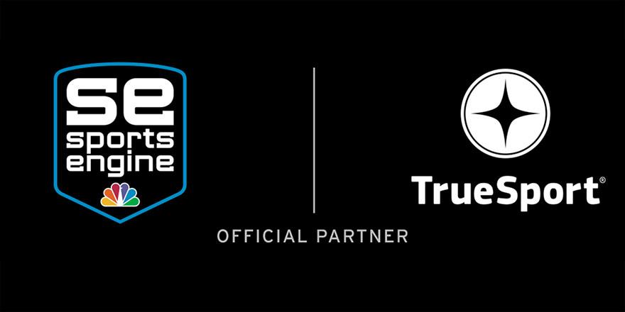 Sports Engine amd True Sport logos on black background