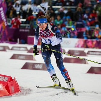 Biathlete Susan Dunklee competing in the 2018 Olympics.