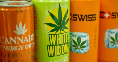 """Cans of energy drinks with """"cannabis"""" on the label."""