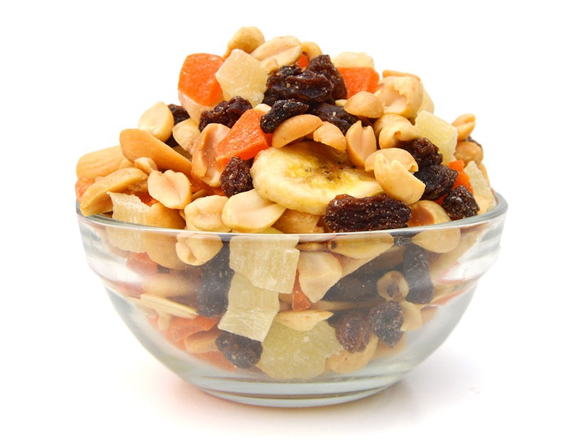 glass bowl of trail mix