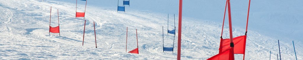 ski gate flags on mountain