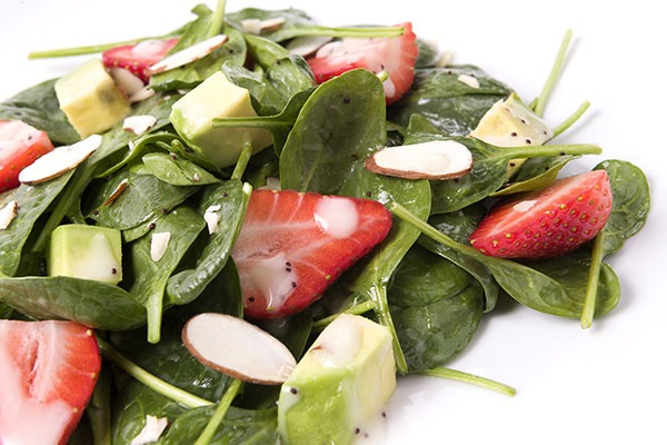 strawberry and apple spinach salad
