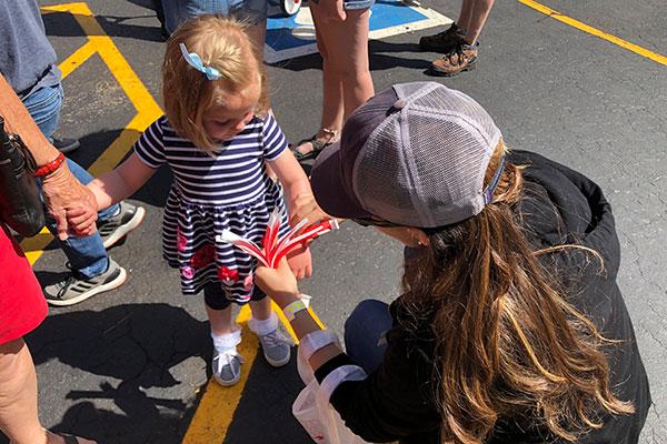 Averi Walker volunteering with children