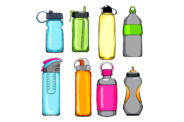 a variety of different styles of reusable water bottles on clear background