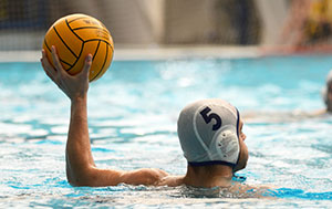 water polo athlete about to throw ball