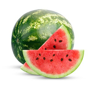 two slices of watermelon next to a whole watermelon