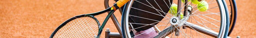Wheelchair tennis close up.
