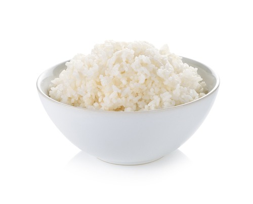 White rice in a bowl.